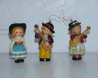 3--Vintage--Children--Christmas Ornaments--Children Look European