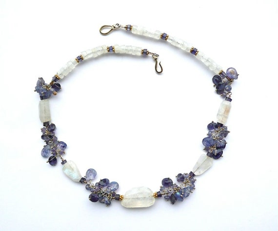 Scilla -- Blue, White and Gold cluster choker with Tanzanite, Iolite, Spectrolite and Moonstone