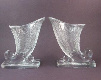 Vintage Glass Cornucopia Horn of Plenty Set of Two Thanksgiving Decor Clear Glass Vase Set Thanksgiving Cornucopia Bookends