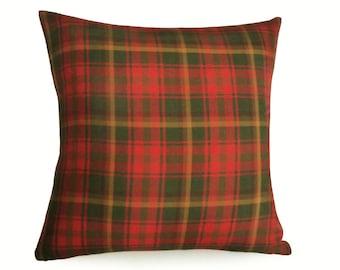Red Green Gold Plaid Pillow Covers, Plaid Throw Pillows, Canadian Maple Leaf Tartan Pillow, Plaid Cushion Cover 12x18, 18x18, 20x20