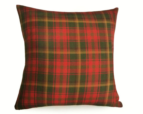Red Plaid Throw Pillow Cover : Red Green Gold Plaid Pillow Covers Plaid Throw by PillowThrowDecor