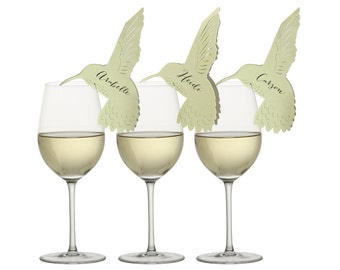 Hummingbird Place Cards - bird wine glass, calligraphy names, printed, spring, summer, charm, wedding, escort card, table number, sage green