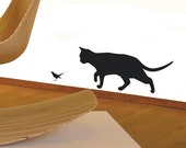 Bird and Prowling Cat Wall Sticker Decal