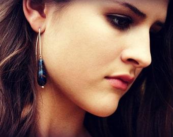 Blue Jade Golden Dangle Earrings / Sterling Silver Ear Thread / Dark Midnight Galaxy Blue / Casual Day To Night Modern Navy Golden Metallic