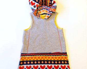 scandi heart fleece hooded vest dress - baby - warm winter girls clothing - heather grey/nordic print