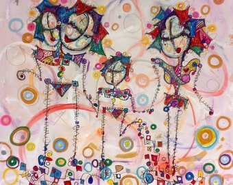 Family Time - 34x36 Large Canvas - Stick People Painting by Kim Dean