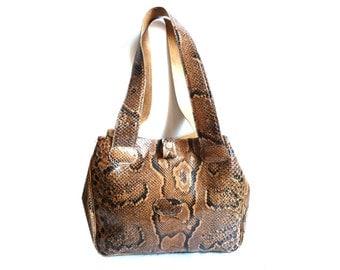 SERPENT French Vintage Snake Skin Leather Tote / Shoulder Bag