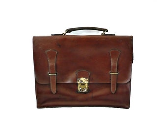 JAMES FRench VIntage 70s Brown Leather Briefcase