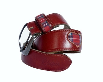 CHIPPIE French Vintage Leather Belt with Tartan  Heart