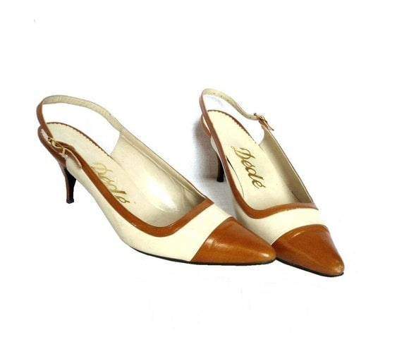DEDE French Vintage Leather Bicolor Sling Back