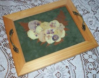 Perfume/Tea Tray with Dried Pansies