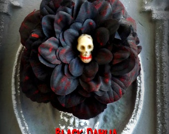 Hair Barrette: Dead Girl Massacre Decay - Black Dahlia Elizabeth Short True Crime Bloody Flower Accessory