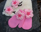 Hat and mittens set Toddler size 12 months up to 4T cherry blossom style