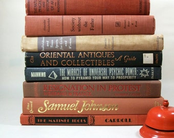Vintage 1960s -1970s Orange and Brown Decorative Book Lot Library Instant Collection O1