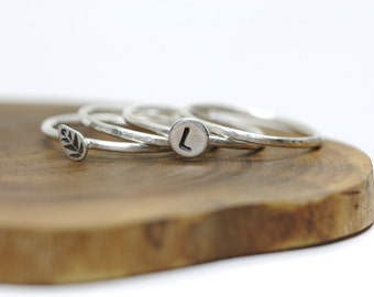 Sterling silver stacking rings -  set of 4 - hammered - initial - leaf - etsymetal team - personalised