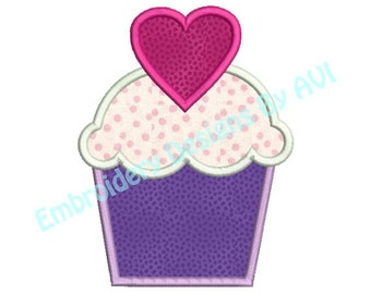 Applique Cupcake Valentine Heart Machine Embroidery Designs Instant Download Sale 4x4 and 5x7