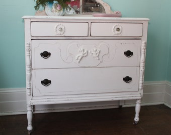 petite antique shabby chic dresser CUSTOM ORDER white distressed bedroom cottage prairie vintage cherubs