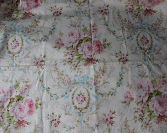 Shabby Chic Fabric white blue pink rose cottage prairie by the yard