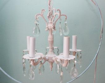 antique chandelier bronze 5 arm pink spain brass vintage lighting crystals