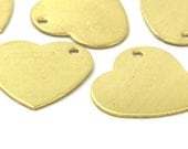 10Raw Brass Heart Stamping Blank Charms 19x20x0.80  D008