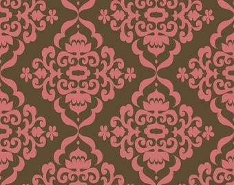 1 yard of Fiona's Fancy Brown and Pink Damask  by Riley Blake