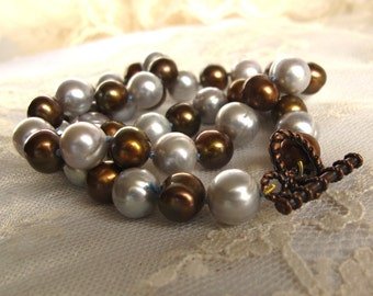 SALE Colorful Classic Chocolate Brown Baroque Pearl Strand Necklace,Large Mixed Silver Slate Blue Pearl Choker Necklace,Unique Pearl Jewelry