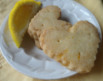 Fluted Hearts~ Lemon Ginger Shortbread Cookies ~