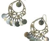 Calypso shell blacklip earrings large hoop antique brass filigree