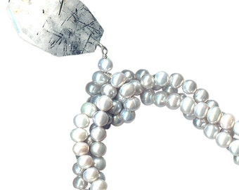 faceted rutilated quartz chunky statement necklace three strands silver pearls