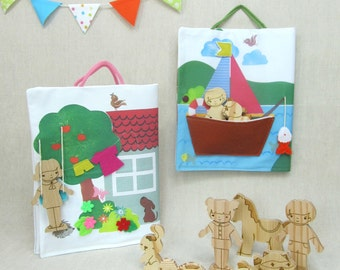 Adventure Book with Wooden Toys for Boys - camping/fishing/explorer.  Activity Book, Toy, Wooden, Children, Waldorf