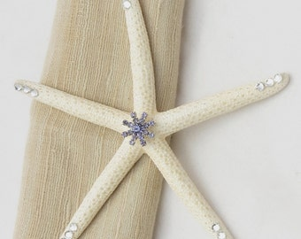White Starfish with Rhinestone Embellishment and Crystal Accents- Beach Wedding Decor-Bridal Bouquet