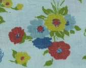 Flour Sack, Feed Sack, Blue Background, Groups of Red, Blue Yellow Flowers, Green Leaves, 53 by 36 inches