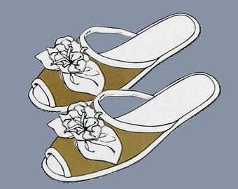 1970s Ladies Slipper Pattern Sew Lovely 50 UNCUT Sizes S - L Mules, slip on slippers
