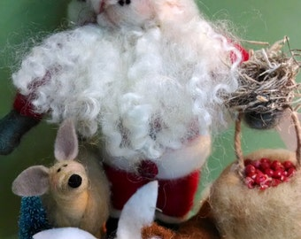 Woodland Christmas Felted Wool Sculpture