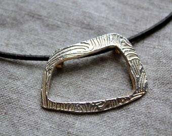 Rectangular silver pendant asymmetrical necklace