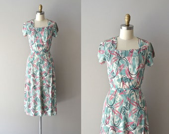Astral Plane dress | vintage rayon 40s dress • 1940s printed rayon dress