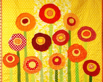 "Baby quilt -poppies baby/ wall art quilt- ""Poppies Full of Sunshine'' in bright reds and oranges on yellow MADE TO ORDER"