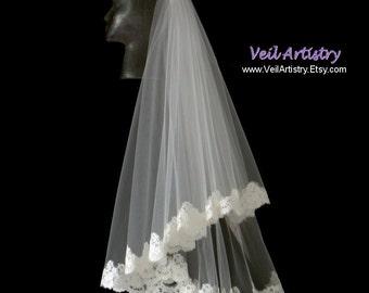 Short Bridal Veil, Radiance Veil, 2 Tier Veil, Lace Edge Veil, Alencon Veil, Lace Veil, Fingertip Veil, Made-to-Order Veil, Handmade Veil