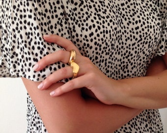Heart ring -  large ring 14k gold plated - one of a kind - statement ring - 3D