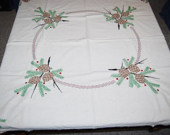 Vintage Tablecloth Pine Cones on Ivory
