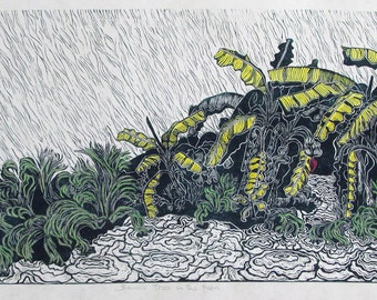 Banana Trees in the Rain, limited edition block print & water color, hand printed, hand signed in pencil by artist