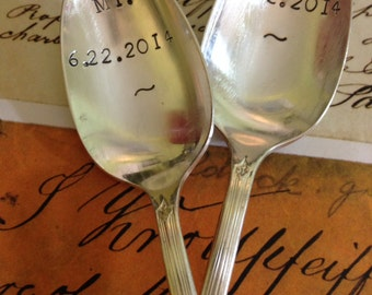 Vintage flatware ONE hand stamped inspirational personalized gift wedding anniversary teaspoon coffee spoon