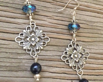 Cool Waters Handmade Earrings- Antique Silver with blue Chinese crystals and Swarovski glass pearls jewelry for her