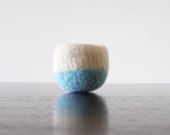 felted wool bowl - air plant planter - colorblock white, aqua, and navy tiny bowl - soft jewelry storage - minimalist home