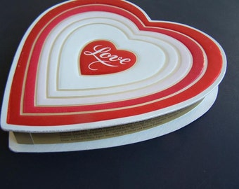 Vintage E. J. Brach & Sons Small Chocolate Box, Valentine's heart-shaped Presentation Box , Red Foil 1982