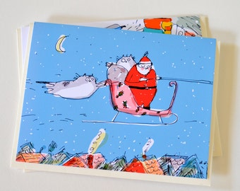 The Stowaways- Funny Christmas Cat Card for Cat Lovers by The Dancing Cat