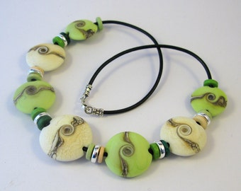 Key Lime Pie Lentil Glass Bead Necklace SRA