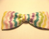Spring Easter Pastel New Multicolored Striped Pretied Bow Tie Adjustable Neckband Men Boys Handcrafted Bowtie