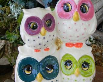 OWL Garden Statue -  4 on a log    Ceramic  Glazed   hootie Owlet  Mothers day owl Family Stack