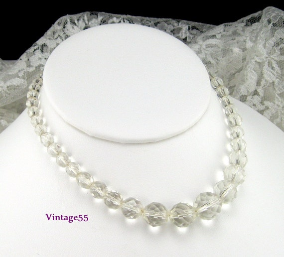 vintage necklace glass beaded faceted clear glass by vintage55